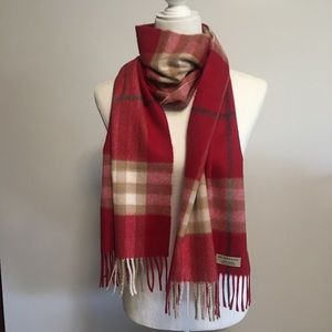 Burberry giant check cashmere fringe scarf
